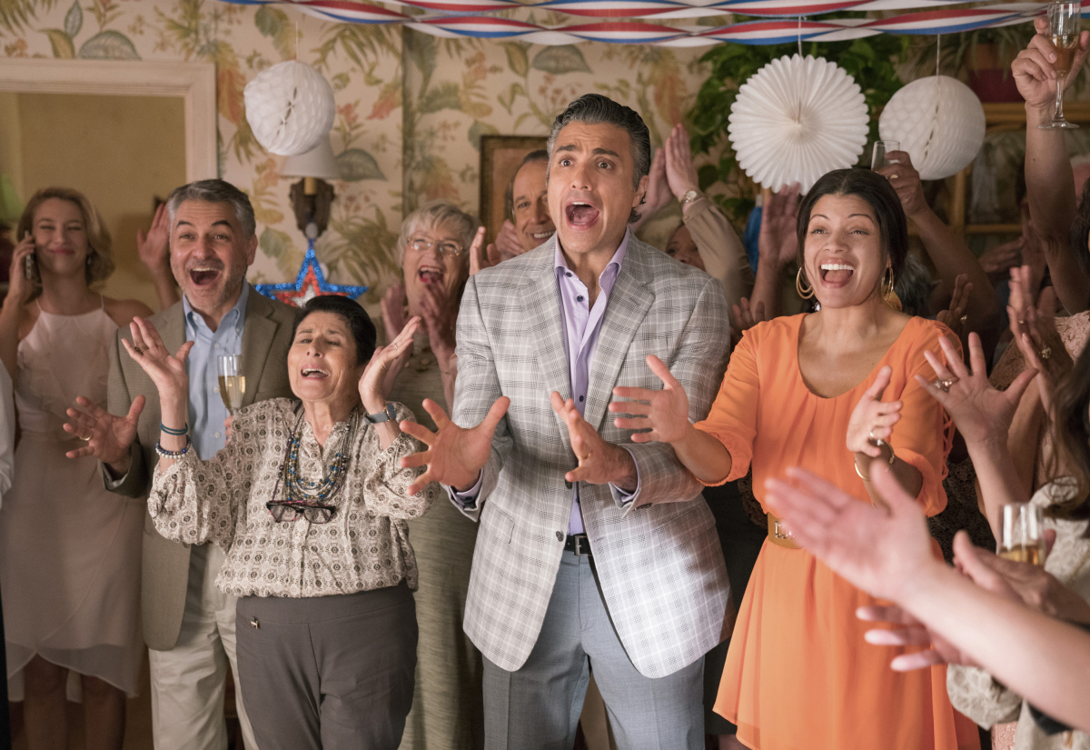 """Jane The Virgin -- """"Chapter Eighty-One"""" -- Image Number: JAV417c_0097.jpg -- Pictured (L-R): Gina Rodriguez as Jane and Justin Baldoni as Rafael -- Photo: Patrick Wymore/The CW -- © 2018 The CW Network, LLC. All Rights Reserved."""