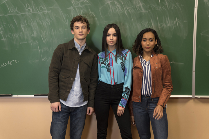 "PRETTY LITTLE LIARS: THE PERFECTIONISTS - Freeform's ""Pretty Little Liars: The Perfectionists"" stars Eli Brown as Dylan, Sofia Carson as Ava, and Sydney Park as Caitlyn. (Freeform/Allyson Riggs)"