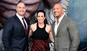 Mandatory Credit: Photo by Michael Buckner/Variety/REX/Shutterstock (9518674bn) Hiram Garcia, Dany Garcia and Dwayne Johnson 'Rampage' film premiere, Los Angeles, USA - 04 Apr 2018