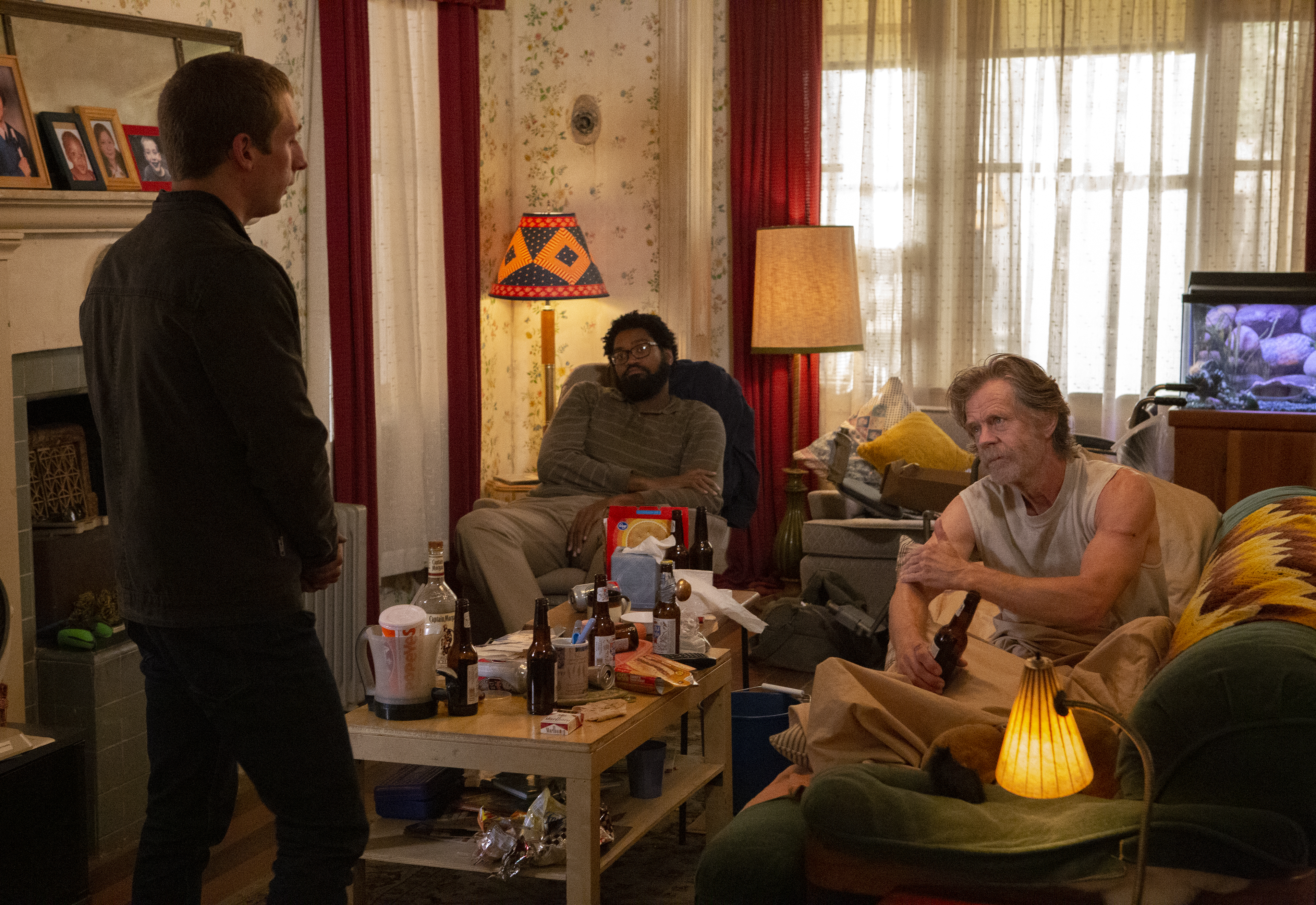 Jeremy Allen White as Lip and William H. Macy as Frank Gallagher in SHAMELESS