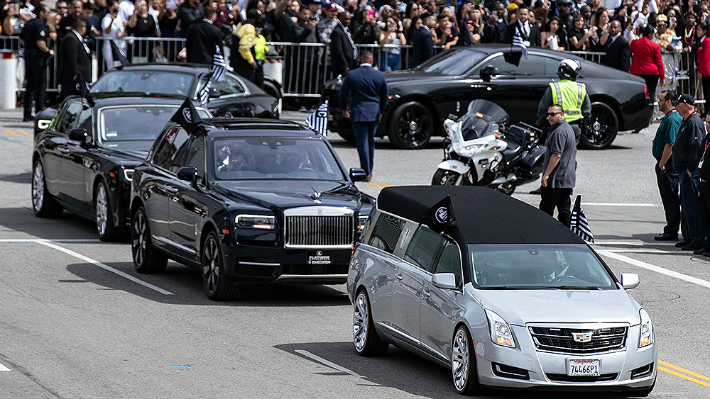 The hearse leaves the Staples Center after thousands of people attended the ceremony 'Nipsey Hussle Celebration of Life' to honor the memory of the late rapper at the Staples Center Stadium in Los Angeles, California, USA, 11 April 2019.