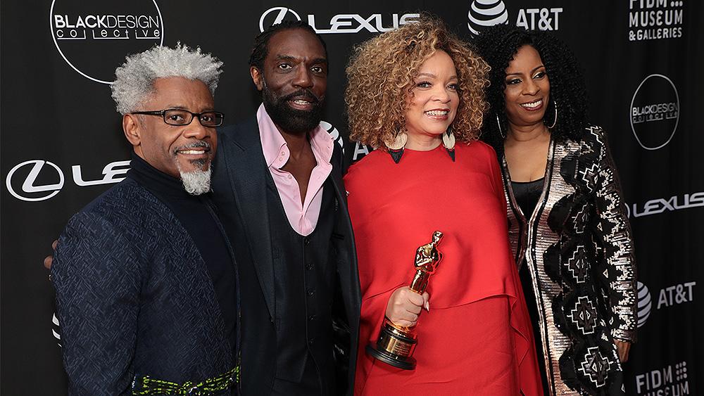 (L-R) Black Design Collective founders TJ Walker, Kevan Hall, Angela Dead pose with Ruth E. Carter. (Credit: Alex J. Berliner/ABImages)