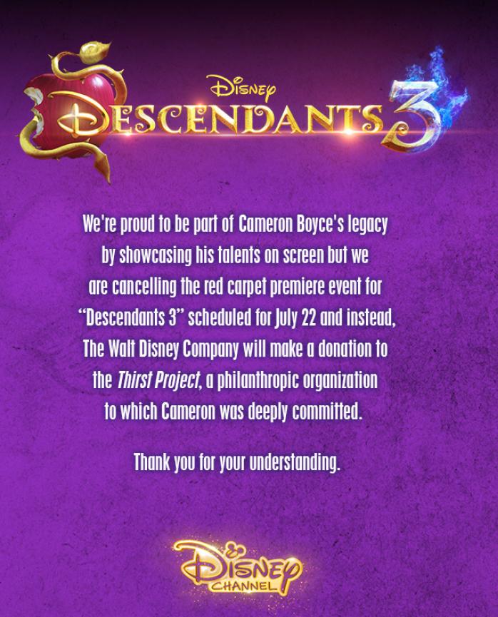 Disney Channel Statement re Cameron Boyce