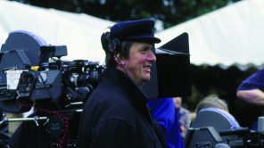 Director Mike Newell on set of 'Four Weddings and a Funeral'