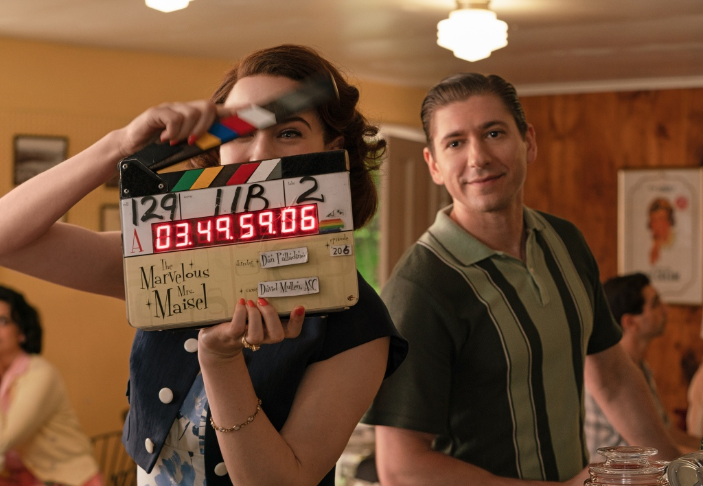 Rachel Brosnahan and Michael Zegen behind the scenes of 'The Marvelous Mrs. Maisel'