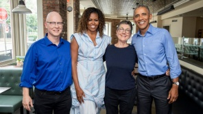 'American Factory' directors Steven Bognar and Julia Reichert with Barack and Michelle Obama