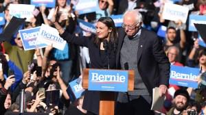 Bernie Sanders, US Presidential Election Campaigning, New York, USA - 19 Oct 2019 Alexandria Ocasio-Cortez, Bernie Sanders (Credit: Shutterstock)