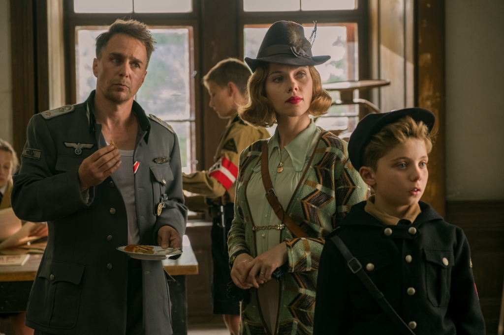 Sam Rockwell, Scarlett Johansson and Roman Griffin Davis in 'Jojo Rabbit'