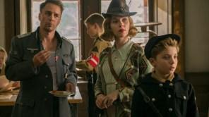 Sam Rockwell, Scarlett Johansson and Roman Griffin Davis in 'Jojo Rabbit'