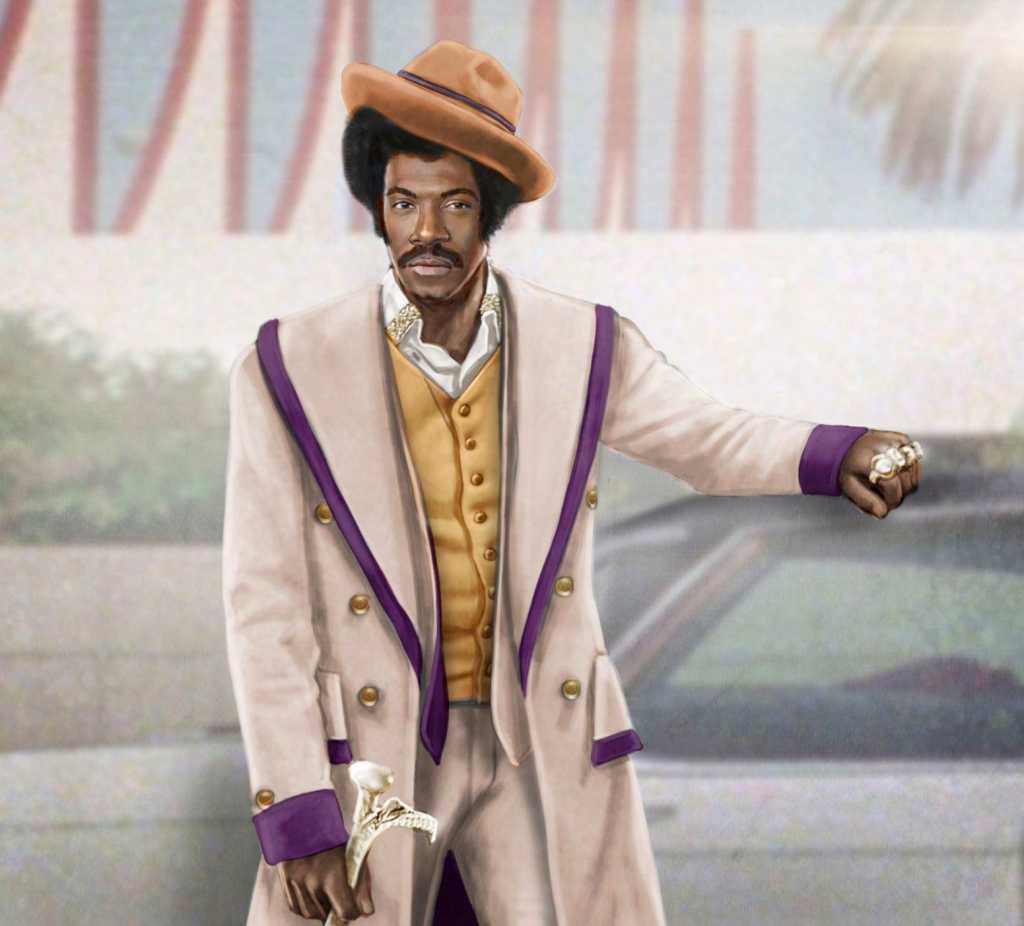 A costume sketch of Eddie Murphy's Rudy Ray Moore in 'Dolemite Is My Name'