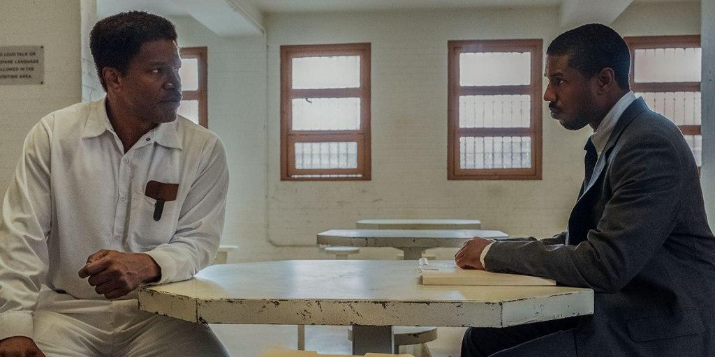 Michael B. Jordan and Jamie Foxx in 'Just Mercy'