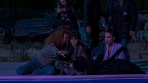 Director Alma Har'el, Noah Jupe and FKA Twigs behind the scenes of 'Honey Boy'