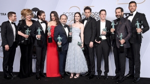 25th Annual Screen Actors Guild Awards, Press Room, Los Angeles, USA - 27 Jan 2019 Joel Johnstone, Caroline Aaron, Michael Zegen, Marin Hinkle, Kevin Pollak, Rachel Brosnahan, Luke Kirby, Brian Tarantina, Tony Shalhoub, and Zachary Levi - Outstanding Performance by an Ensemble in a Comedy Series - 'The Marvelous Mrs. Maisel' 27 Jan 2019