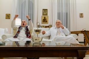 Jonathan Pryce and Anthony Hopkins in 'The Two Popes'
