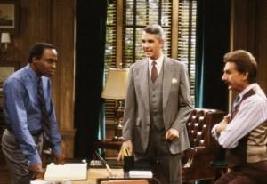 "Robert Guillaume, James Noble, and René Auberjonois in ""Benson."" (Credit: ABC)"
