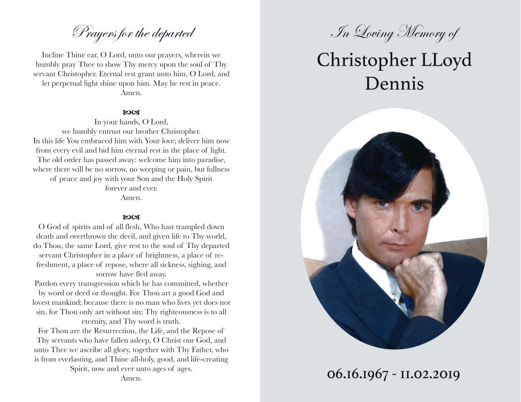 Christopher Dennis Funeral Program (Credit: Dreamer Pictures LLC)