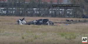 A small plane crashed Saturday in Lafayette, Louisiana killing five people. (Credit: YouTube/Associated Press)
