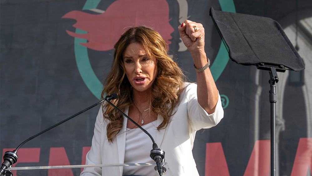 Caitlyn Jenner speaks at the 4th Women's March in Los Angeles on . Thousands gathered in cities across the country Saturday as part of the nationwide Women's March rallies focused on issues such as climate change, pay equity, reproductive rights and immigration. Photo credit: Damian Dovarganes/AP/Shutterstock
