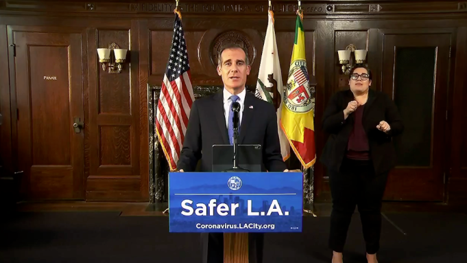 L A Coronavirus Update Mayor Eric Garcetti Says I Don T Want To Turn Los Angeles Into Some Sort Of Police State Deadline