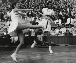 Mandatory Credit: Photo by Reg Warhurst/Shutterstock (1580717a) Tennis Players Angela Buxton Left Althea Gibson Right Centre Court At Wimbledon 1956. Tennis Players Angela Buxton Left Althea Gibson Right Centre Court At Wimbledon 1956.