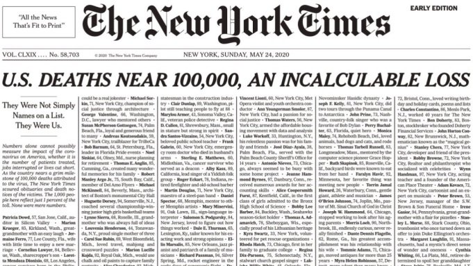 The New York Times Devotes Sunday Front Page To List Of Covid 19 Dead Deadline