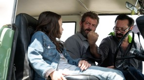 Dafne Keen, Hugh Jackman and James Mangold on the set of 'Logan'