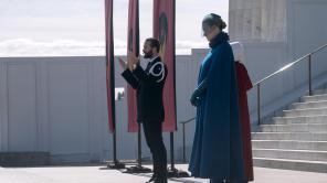 Yvonne Strahovski, Joseph Fiennes and Elisabeth Moss in 'The Handmaid's Tale'