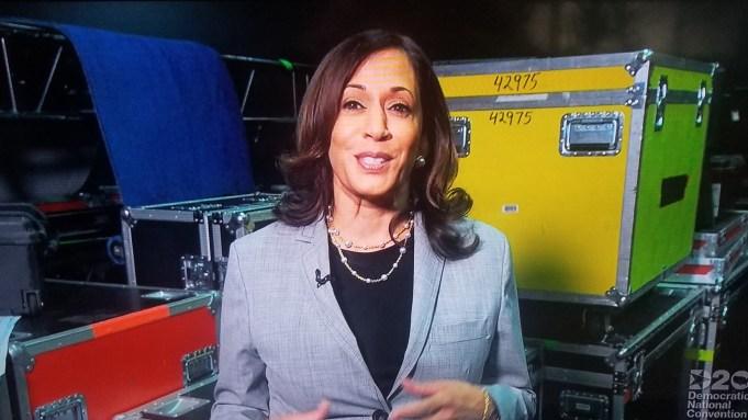 Kamala Harris Makes Surprise Live Appearance At Democratic Convention Deadline