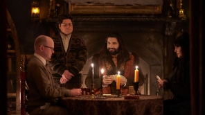 Mark Proksch, Harvey Guillén, Kayvan Novak and Natasia Demetriou in 'What We Do in the Shadows'