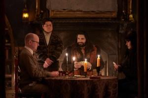 Mark Proksch, Harvey Guillén, Kayvan Novak and Natasia Demetriou in 'What We Do in the Shadows'