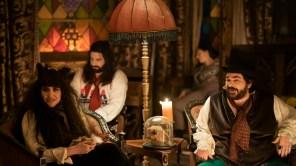 Natasia Demetriou, Kayvan Novak and Matt Berry in 'What We Do in the Shadows'
