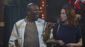 Tituss Burgess and Ellie Kemper in 'Unbreakable Kimmy Schmidt: Kimmy vs. the Reverend'