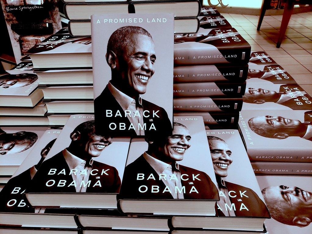 Barack Obama Memoir 'A Promised Land' book display