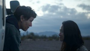 Frances McDormand and director Chloé Zhao on set of 'Nomadland'