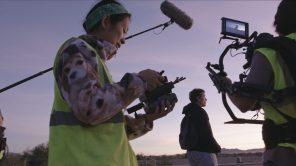 Director Chloé Zhao, cinematographer Joshua James Richards and Frances McDormand on set of 'Nomadland'