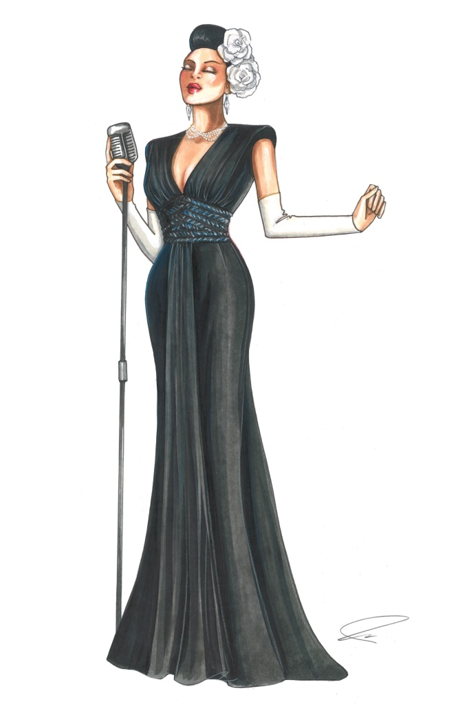 A costume sketch from 'The United States vs. Billie Holiday'