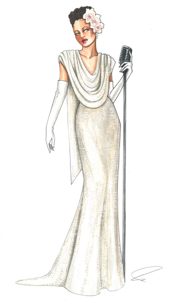 Costume sketch from 'The United States vs. Billie Holiday'