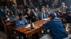 Kelvin Harrison Jr, Yahya Abdul-Mateen II, Mark Rylance, director Aaron Sorkin and Eddie Redmayne on the set of 'The Trial of the Chicago 7'