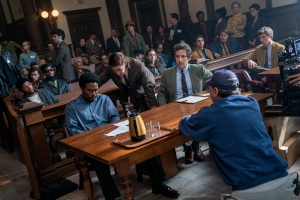 Kelvin Harrison Jr, Yahya Abdul-Mateen II, Mark Rylance, director Aaron Sorkin and Eddie Redmayne on the set of 'The Trial of the Chicago 7'