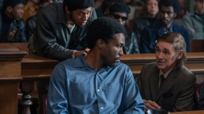 Kelvin Harrison Jr, Yahya Abdul-Mateen II and Mark Rylance in 'The Trial of the Chicago 7'
