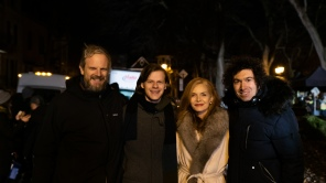 Cinematographer Tobias Datum, Lucas Hedges, Michelle Pfeiffer and director Azazel Jacobs behind the scenes of 'French Exit'