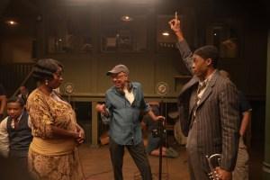 Viola Davis, director George C. Wolfe and Chadwick Boseman on set of 'Ma Rainey's Black Bottom'