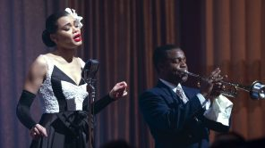 Andra Day and Kevin Hanchard in Andra Day in 'The United States vs. Billie Holiday'