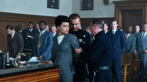 Trevante Rhodes, Andra Day and Garrett Hedlund in Andra Day in 'The United States vs. Billie Holiday'