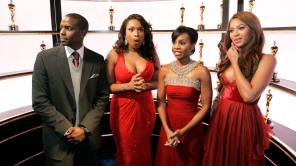 """Keith Robinson waits with Jennifer Hudson, Anika Noni Rose and Beyonce Knowles as the """"Dreamgirls"""" actors stand backstage with the Oscar statues during the 79th Academy Awards"""