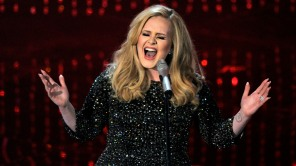 """Adele performing """"Skyfall"""" during the Oscars at the Dolby Theatre in Los Angeles."""