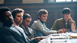 Yahya Abdul-Mateen II, Ben Shenkman, Mark Rylance, Eddie Redmayne and Alex Sharp in 'The Trial of the Chicago 7'