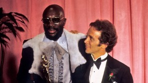 Isaac Hayes, winner for Best Original Song THEME FROM SHAFT and presenter Joel Grey, in the pressroom at the 44th Academy Awards