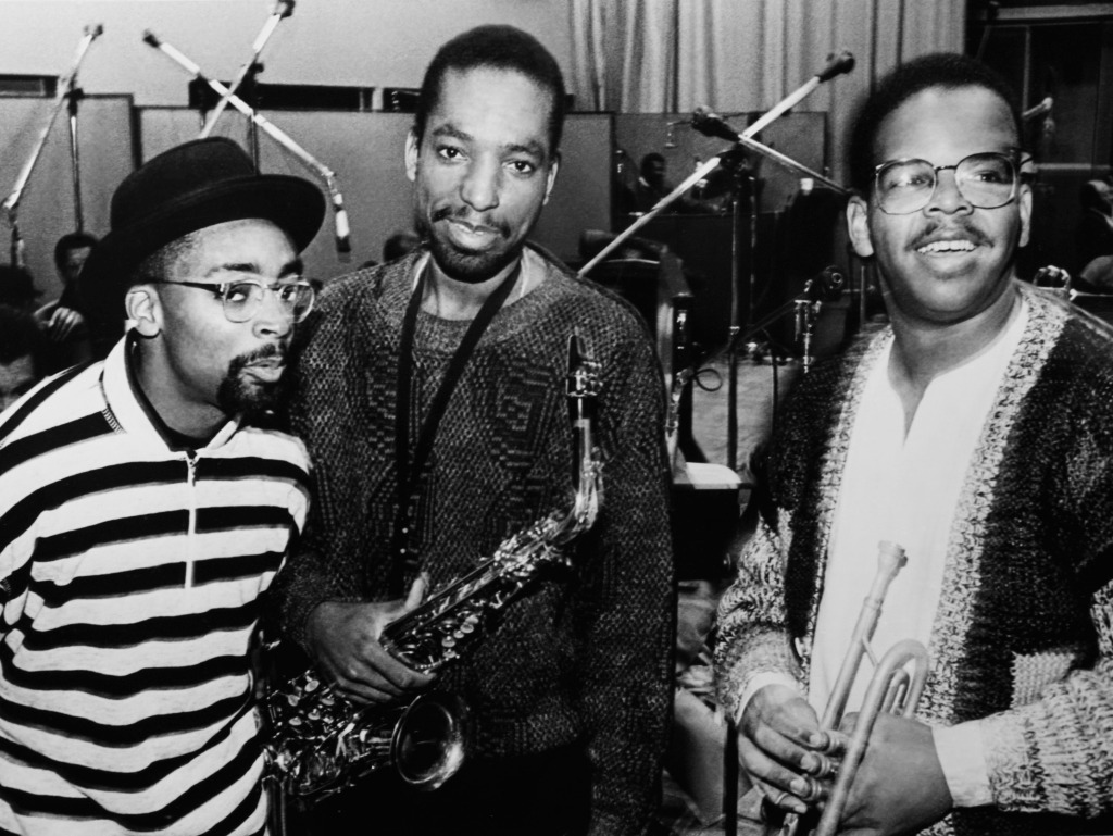 Spike Lee in a recording session for 'School Daze' with Donald Harrison and Terence Blanchard