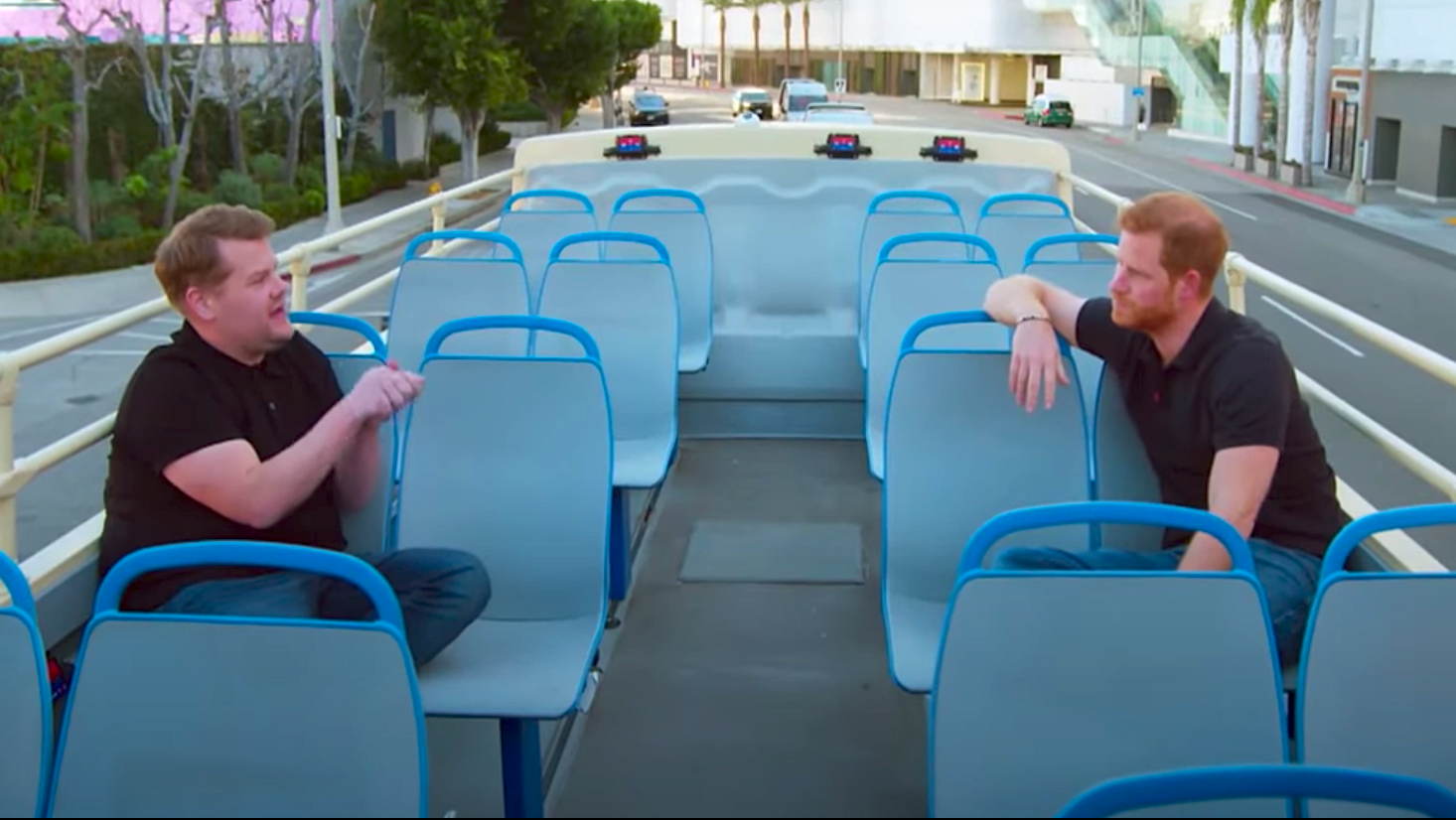 Prince Harry Takes Open-Top Bus Tour Ride Around LA With James Corden On 'The Late Late Show'